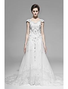 A-line Floor-length Wedding Dress -Straps Satin