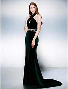 저녁 정장파티 드레스 - 다크 그린 트럼펫/멀메이드 쿼트 트레인 홀터 벨벳