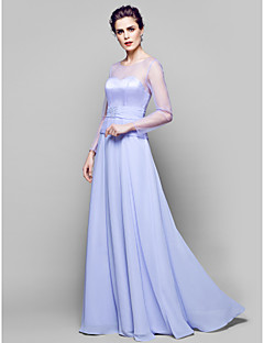 A-Lijn Vloer Lengte Doek/Tule Bruidsmoederjurken - Lavendel Lange mouw