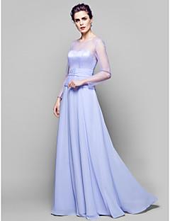 Vestido Para Mãe dos Noivos - Lavanda Linha-A Longo Manga Comprida Chiffon/Tule