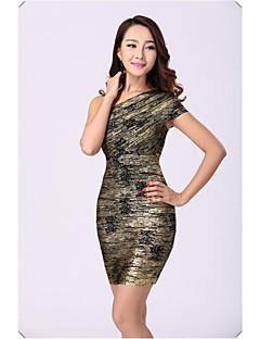 Column One Shoulder Short/Mini Nylon Taffeta Bandage Dress
