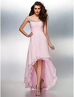 Prom / Formal Evening Dress - Blushing Pink Plus Sizes / Petite A-line Spaghetti Straps Asymmetrical Georgette