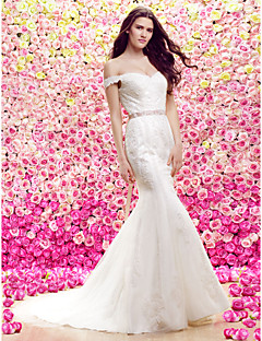 Lan Ting Trumpet/Mermaid Wedding Dress - Ivory Court Train Off-the-shoulder Lace / Tulle