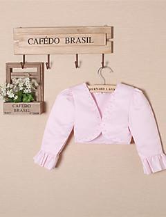 아이들은 화이트 / 핑크 볼레로 어깨를 으쓱 볼레로 일치 긴 소매 새틴 / 폴리 에스테르 파티 / 캐주얼 패션 랩