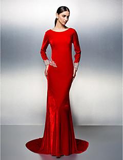 Vestido - Vermelho Festa Formal Sereia U profundo Cauda Média Veludo