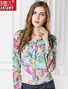Damen Druck Einfach Lässig/Alltäglich Hemd Alle Saisons Langarm Lichtdurchlässig