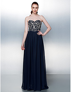 TS Couture Formal Evening Dress - Sparkle & Shine A-line Strapless Floor-length Chiffon with Beading Sequins