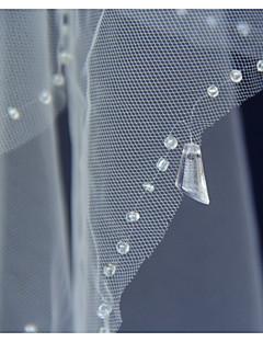 Velo corto (ai gomiti) Merlato - 2 strati - Perlina - di Avorio