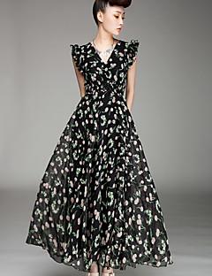 여성의 플러스 사이즈 / 섹시 / 캐쥬얼 / 귀여운 플러스 사이즈 드레스 맥시 쉬폰