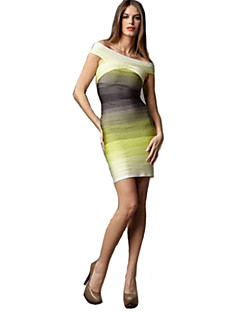 Alice&Elmer Rayon Short/Mini Off The Shoulder Gradient Sheath/Column Bandage Dress