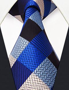 Men's Tie Navy Blue Checked Fashion 100% Silk  Business