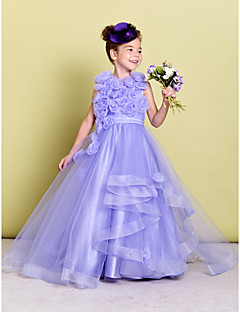 Lanting Bride ® A-line Sweep / Brush Train Flower Girl Dress - Organza Sleeveless Jewel with Flower(s) / Ruching