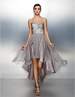 동창회 공식적인 저녁 드레스 - 실버 라인 연인 비대칭 태 피터 / 얇은 명주 그물