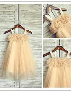 Flower Girl Dress Tea-length Chiffon/Tulle A-line Sleeveless Dress