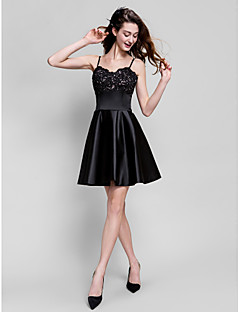 TS Couture® Cocktail Party / Company Party Dress Plus Size / Petite A-line Spaghetti Straps Short / Mini Satin with Appliques / Beading