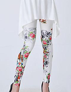 Tryck Tunn Legging Dam Bomullsblandning/Polyester