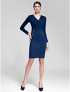Cocktail Party Dress - Ink Blue Sheath/Column V-neck Knee-length Polyester