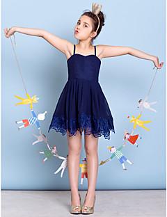 Short/Mini Chiffon Junior Bridesmaid Dress - Dark Navy A-line Spaghetti Straps