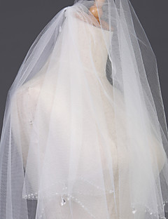 Wedding Veil Two-tier Headpieces with Veil Pearl Trim Edge
