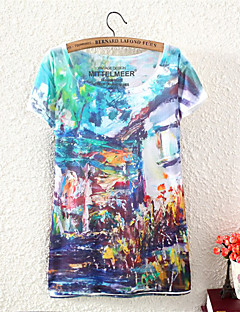 Mulheres Camiseta Casual Simples Verão,Estampado Colorido Algodão / Poliéster Decote Redondo Manga Curta Média