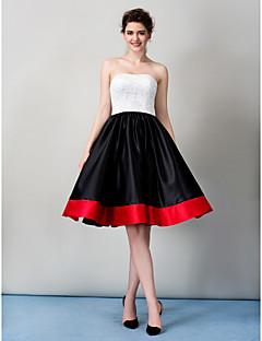 TS Couture Cocktail Party Prom Company Party Dress - Color Block A-line Strapless Knee-length Lace with Lace