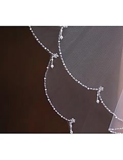 두층 - 가리비모양 가장자리/진주 트림 가장자리 팔꿈치 베일 ( 화이트/베이지 , 진주/구슬/세퀸 )