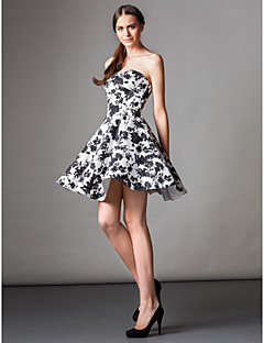 TS Couture® Cocktail Party Dress - Print A-line Strapless Knee-length Satin