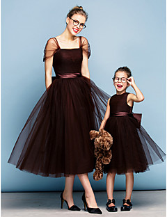 Formal Evening Dress - Chocolate Plus Sizes / Petite Ball Gown Square Tea-length Tulle