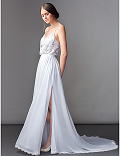 Lan Ting Sheath/Column Wedding Dress - Ivory Sweep/Brush Train V-neck Chiffon