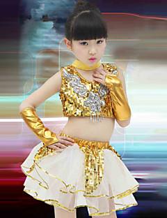 Devemos vestir roupas de jazz com treino de desempenho infantil luvas de saia superior