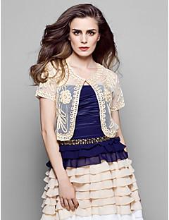 bont vesten bolero textiel binnenwerk zwart / wit / champagne / multi-color (meer kleuren) bolero schouderophalen