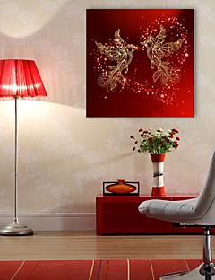 e-home® esticado levou lona de arte impressão Phoenix pássaro LED piscando impressão de fibra óptica