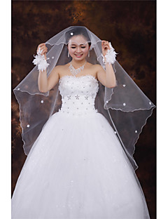 One-tier - Pencil Edge - Oval - Fingertip Veils ( White/Ivory/Beige , Applique/Rhinestones/Ruched )