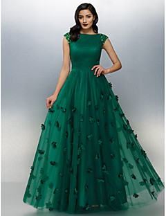 TS Couture® Formal Evening Dress Plus Size / Petite A-line Bateau Floor-length Tulle with Beading / Flower(s) / Side Draping / Ruching