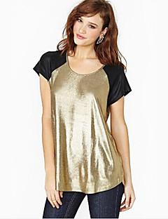 Women's Casual/Daily Simple Summer T-shirt,Print Round Neck Short Sleeve Gold Linen Medium