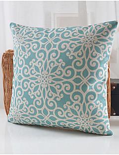 azul flor padrão de algodão / fronha decorativo linho