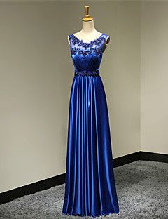 Formal Evening / Military Ball / Company Party / Wedding Party Dress - See Through / Elegant / Open Back A-line Scoop Floor-length Satin