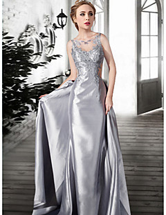 Formal Evening Dress - Silver / Champagne Plus Sizes / Petite A-line Jewel Floor-length Lace / Satin / Tulle