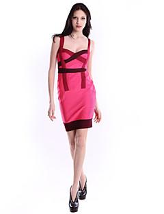 Women Cocktail Party Dress Lady Sheath/Column Spaghetti Straps Short/Mini Spandex/Nylon Taffeta/Rayon Bandage Dress