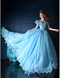 Formal Evening Dress - Pool Petite Ball Gown V-neck Chapel Train Organza / Tulle / Charmeuse
