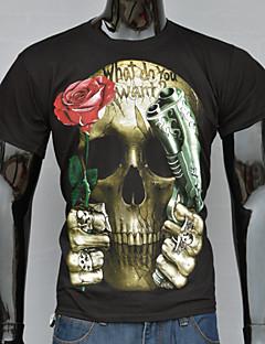 T-Shirts ( Bomuld/Strikketøj/Polyester ) MEN - Casual/Arbejde Rund - Kort Ærmet