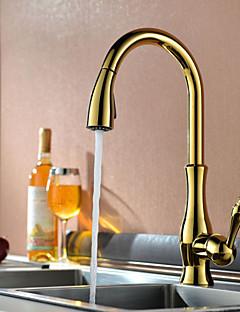 キッチン蛇口 過渡的 引出式スプレー 真鍮 TI-PVD