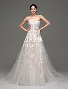 A-line Wedding Dress - Champagne Sweep/Brush Train Sweetheart Satin / Tulle