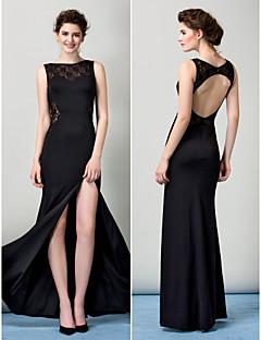 ts couture formell aftonklänning - svart mantel / kolumn Bateau golv längd