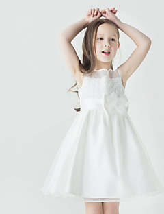 A-Lijn Korte broek / Mini Bloemenmeisje jurk - Tule Mouwloos