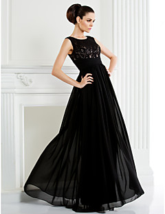 A-line Mother of the Bride Dress - Black Floor-length Sleeveless Chiffon/Lace