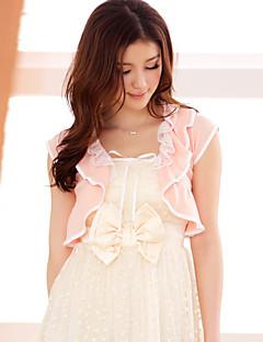 mariage enveloppe manches courtes en mousseline de soie / polyester doux boléros minces noir / blanc / rose bolero haussement