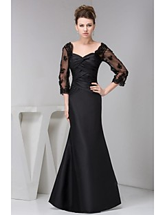 Trumpet/Mermaid Petite Mother of the Bride Dress - Black Floor-length 3/4 Length Sleeve Lace / Satin