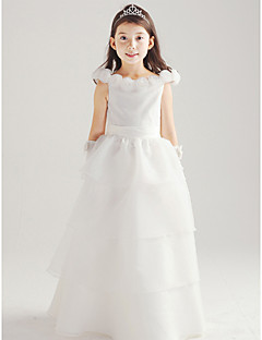A-line Floor-length Flower Girl Dress - Cotton / Organza Sleeveless Off-the-shoulder with