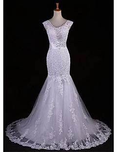 웨딩 드레스 - 아이보리(색상은 모니터에 따라 다를 수 있음) 트럼펫/멀메이드 스위프/브러쉬 트레인/바닥 길이 V 넥 레이스